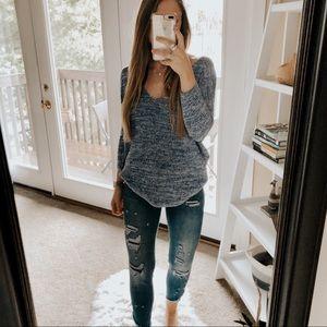 Express Heather Blue V Neck Scoop Sweater